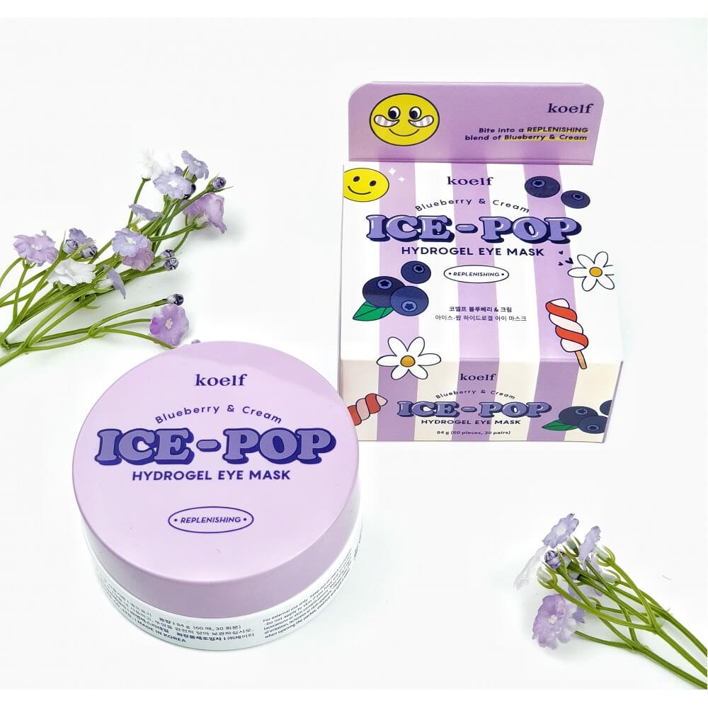 Тонізуючі патчі з чорницею Koelf Ice-Pop Blueberry & Cream Hydrogel Eye Mask