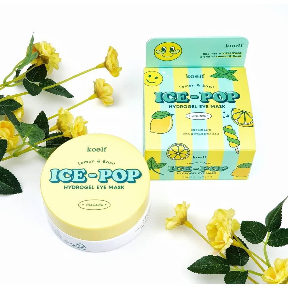 Освітлюючі патчі з лимоном Koelf Ice-Pop Lemon & Basil Hydrogel Eye Mask