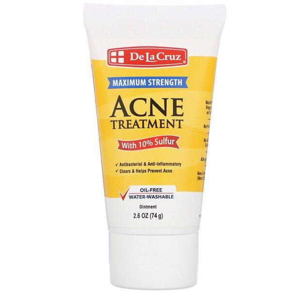 Маска проти акне з сіркою De La Cruz Ointment Acne Treatment with 10% Sulfur Maximum Strength