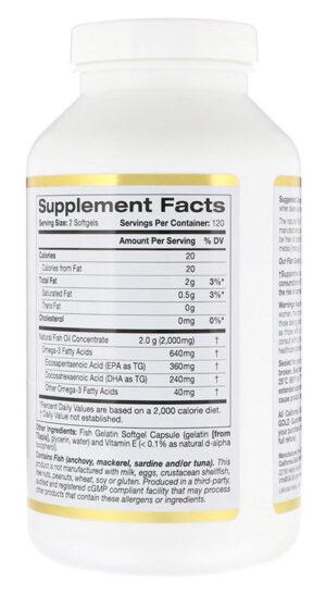 Rybij zhir California Gold Nutrition Omega 3 Premium Fish Oil 100 kapsul 1